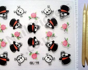 GL-16 Halloween Roses Hat Skulls Cross Bones 3D Nail Art Stickers + FREE 5x wood cuticle sticks