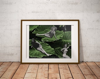 Water Lily Pad Print - Botanical Poster - Lily Pad Poster - Beach Art - Vintage Beach poster