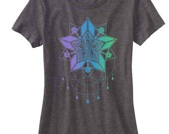Women's STARFLYER Mandala Sacred Geometry Tee Tatto Style Chandelier T-shirt