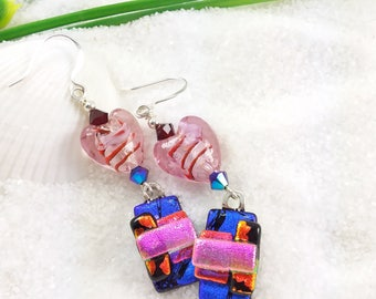Valentines Day, Dichroic glass earrings, fused glass jewelry, glass fusion, Hana Sakura, heart earrings, romantic jewelry, fused dichroic