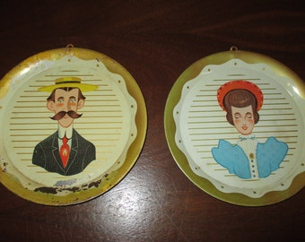 Old Time couple metal trays tip tray wall decor