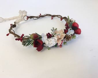 Christmas Flower Crown- Red Flower Crown- Well Dressed Wolf- Red Flower Crown-  Flower Crown- tie back halo