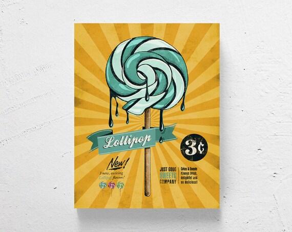 Retro kitchen art / retro lollipop kitchen wall art modern