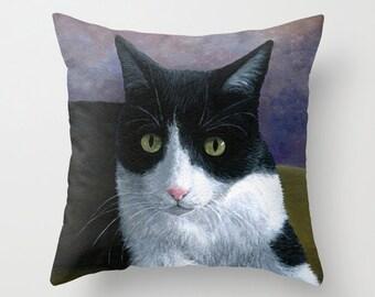Cat Throw Pillow, Tuxedo Cat, Cushion Case, Home Decor Cat 577 art painting Lucie Dumas