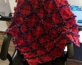 Flannel Rag Quilt - Throw Size