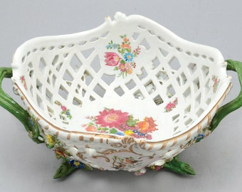 meissen porcelain reticulated basket with flowers (restored)