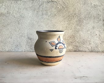 Vintage Southwestern Pottery Vase Native American Style, Ceramic Pot Souvenir Pottery, Southwestern Decor, Eclectic Decor, Earthtone Vase