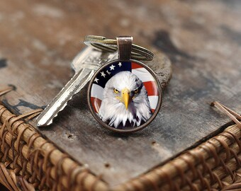 American Eagle Flag Keychain, Patriotic Gift, Stars And Stripes Keychain, Usa Patriotic Keychain America United States 4th of July Keychain