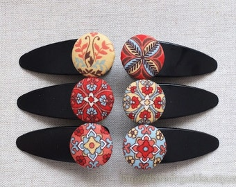 Hair Accessories Fabric Button Large Hair Clips Barrettes-Retro Vintage Nordic Shabby Folk Floral Flowers (1PCS, Choose Pattern)