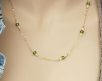 14k Solid Gold Peridot Necklace, Peridot By The Inch (the yard) with Swarovski Crystals, Peridot August Birthday, August Birthstone