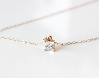 Tiny Cubic Zirconia Square Rose Gold Necklace Cubic Zirconia Necklace Layering Necklace CZ Necklace Tiny square Pink Gold Necklace Tiny CZ