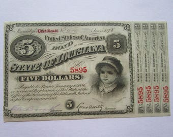 1870s United States of America Bond of the State of LA Louisiana Baby Bond Banknote with 4 Coupons Attached Almost Uncirculated Collectible