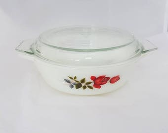 Jo pyrex baking dish//serving dish//vintage//rose//made in england//60 's//milk glass//retro//gift//dine//kitchen//serve