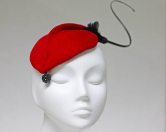 The Montreal Hat - Elegant Races Hat - Sculpted Cocktail Hat w/ Tiny Black Beads & Feather Detail - Red Cocktail Fascinator Hat