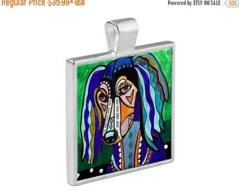50% SALE- Saluki Dog Folk Art Jewelry -  Pendant Metal  Gift Art Heather Galler Gift - Dog Lovers Pet Art Vegan Gifts