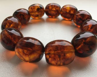 Beautiful massive natural baltic amber bracelet,honey color beads of Baltic amber - 42gr