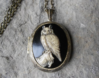 "BRONZE LOCKET--Stunning Great Horned Owl Pendant Locket--  2"" long - Great Quality"