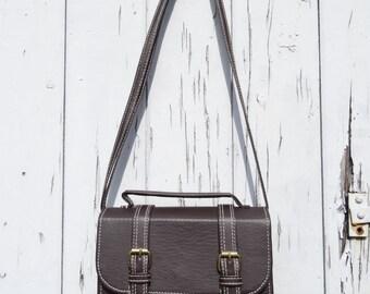 Vintage Leather Style Bag - Dark Brown - Shoulder Retro Handbag Messenger Box