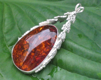 Amber and Sterling Silver Vine Pendant
