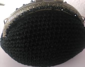 Black crochet coin purse bronze tone crocet coin purse, Metal Kiss Clasp hearts purse, kiss clasp crochet coin purse, gift for her