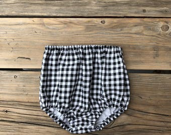 Baby girl clothes hipster kids bloomers High waisted shorts toddler kids clothes gift black white gingham check plaid boho newborn vintage