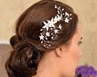 Wedding hair piece Wedding headpiece Bridal hair piece Wedding hair flower Wedding hair comb - BIANCA