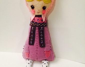 Girl Plushie. Softie.Piggie. Felt Doll.