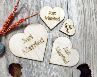Wooden Hearts Just Married Plywood Scrapbooking Embellishment Rustik Wedding Decor