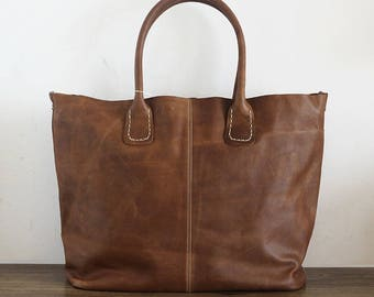 Leather Tote Bag - large brown tote - shopper - Leather Travel Bag - distressed dark brown Leather Market bag- Sale