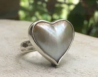 Australian Natural White Mabe Pearl Heart Ring with Silver Hammer Textured Band