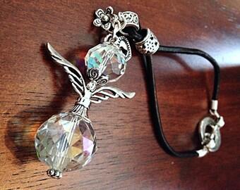 Car Accessory, Rearview Mirror Charm, Rear View Mirror Car Charm, Sun-catcher, Angel Keychain, Swarovski Crystals Prism Angel Keychain