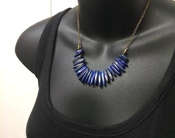 Lapis Lazuli Bib Necklace - Beaded Lapis Lazuli on Bronze Rolo Chain -  Gemstone Necklace - Bohemian Layering Necklace - Christmas Gifts