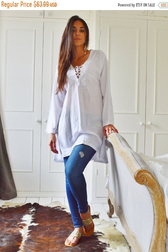 Kaftan Sale 20% Off/ White Tunic Embroidered Dress-Karmia's Syle