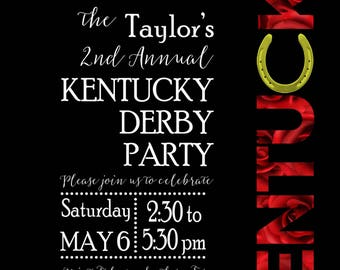 Kentucky Derby Party Invitations Digital Download or printed available
