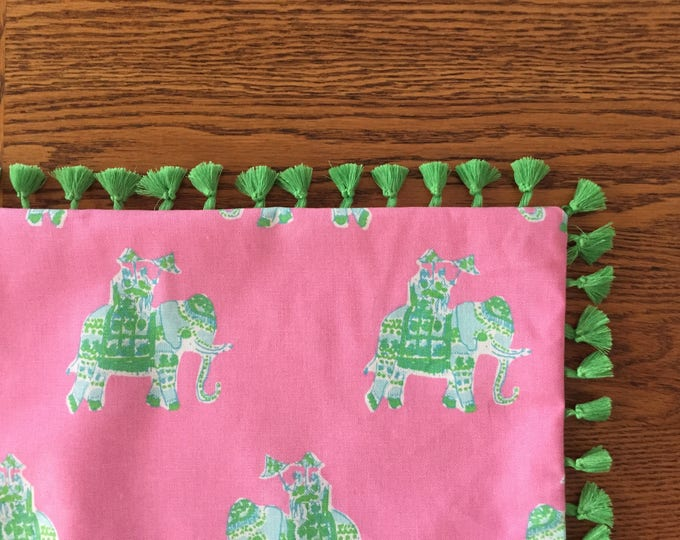 Custom Made Lilly Pulitzer Bazaar in Tiki Pink Table Runner,  FREE SHIPPING 14x90, 14x108, 14x120, Pink and Green Elephant fabric