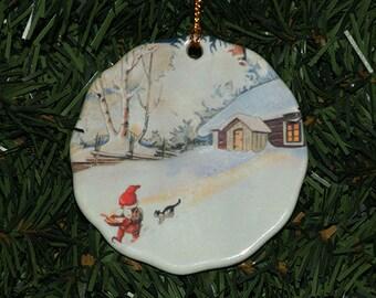 Ceramic Scalloped Edge Ornament - Swedish Gnome Tomte & Cat #528