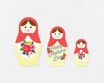 Special Mother's Day Card, Nesting Doll, Russian Nesting Doll, Matryoshka Doll, I Love Mom, Unique Card, Best Mom in the World, Gift Card