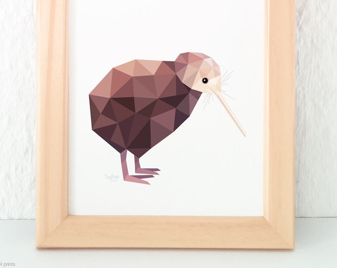 New Zealand kiwi print, Kiwi artist, Brown kiwi, Kiwiana, Kiwi home decor, Kiwi wall art, New Zealand birds, New Zealand gift, NZ animals
