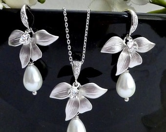 Wedding Bridal Earrings - White Teardrop Pearl with Orchid Leaf Flower White Gold Plated Cubic Zirconia Earrings