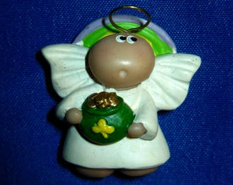 Vintage St Patrick's Day Lucky Shamrock Pudgy Angel Pin/Brooch by Kirk