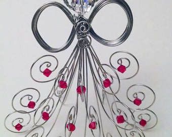 Special Edition: Silver tone wire angel, Swarovski crystal beads, head and red beads