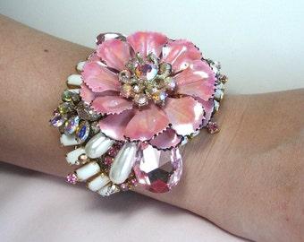 Bridal Bracelet Pink Iridescent AB Flower Milk Glass Trim Wedding Bracelet Cuff From Vintage Jewels