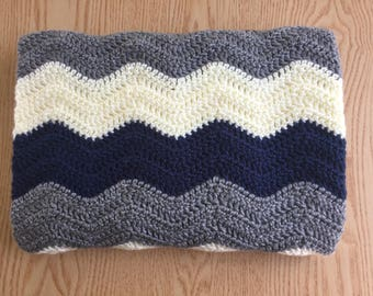 Dark Blue Chevron Baby Blanket/ Crochet Baby Blanket/ Baby Boy Blanket/Ripple Baby Blanket/ Blue Crochet Blanket/ Crochet Throw Blanket