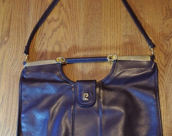NOS Vintage Pierre Cardin Brown Leather Gold Hardware Clutch Envelope Purse with strap