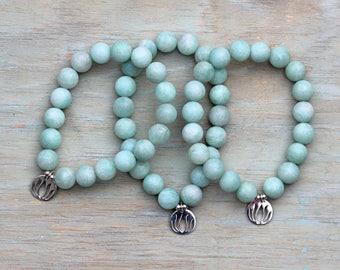 "ZenHappy Stretch ""Lotus"" Gemstone Mala Bracelet - Sterling Silver Lotus Charm on Matte Brazilian Amazonite"