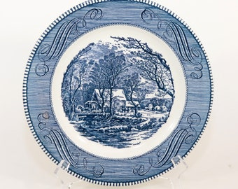 """Royal USA Currier and Ives Plate Vintage The Old Grist Mill, Blue & White Mint 10"""""""
