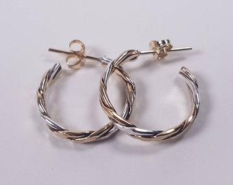 Gold-fill with Sterling Silver hand made Crossover Hoop Earrings. 20% Off. Free Shipping