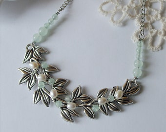 GIFTS for HER Antique silver leafy branch Bib necklace Fresh water pearls statement necklace