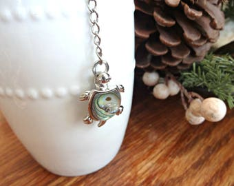 Tea Infuser with Sea Turtle Charm, Beach Lover Gift, Tea Drinker Gift, Tea Ball, Mesh Tea Strainer, Abalone Shell Sea Turtle Gifts