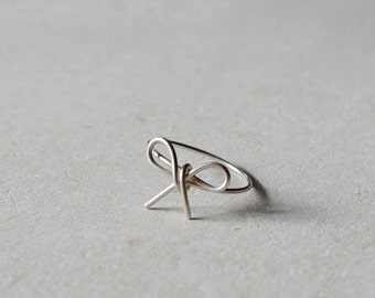 Bow ring in sterling silver minimalist ring handmade ring silver bow ring bow jewelry dainty ring stacking ring - amejewels